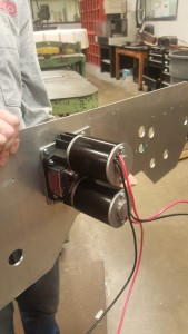 Motors and gear boxes are attached.