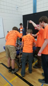 The team setting up the bot at the mini regional.