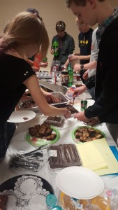Bacon and brownies buffet line!